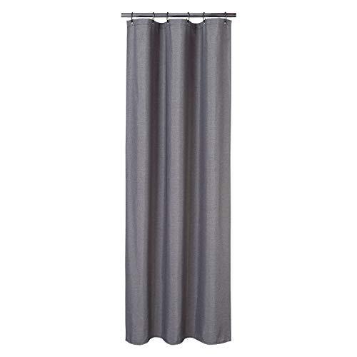 Flachs Leinen wie 240GSM Schwerer Stall Duschvorhang für Badezimmer mit Haken Hotel Luxus Stoff waschbar,grau,80x180 cm