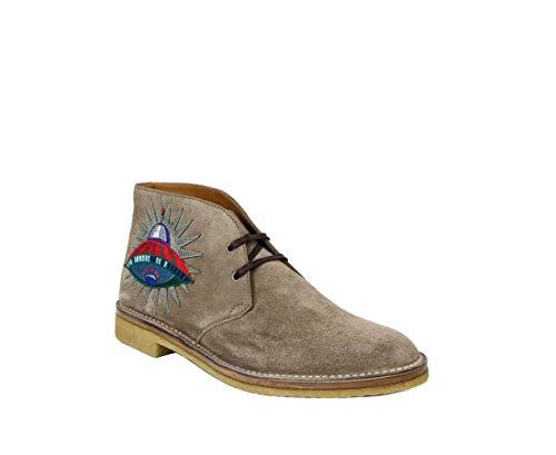 Gucci 473023 2351 - Botas de tobillo bordadas con búho y ovni, color beige