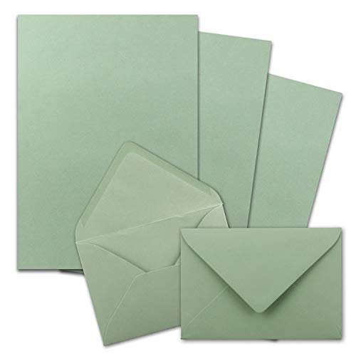 FarbenFroh by Gustav Neuser - Juego de 50 papeles de carta DIN A4 con sobres C6, pegado en húmedo, color verde eucalipto y verde