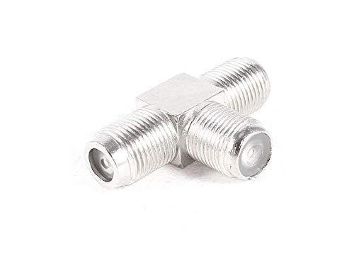 adaptare 60602 Splitter Sat-T-Stück 1-mal F-Buchse auf 2-mal F-Buchse Nickel