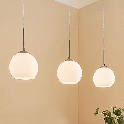 Lindby Pendelleuchte 'Eloy' dimmbar (Modern) in Weiß aus Glas u.a. für Wohnzimmer & Esszimmer (3 flammig, E27, A++) - Hängelampe, Esstischlampe, Hängeleuchte, Wohnzimmerlampe