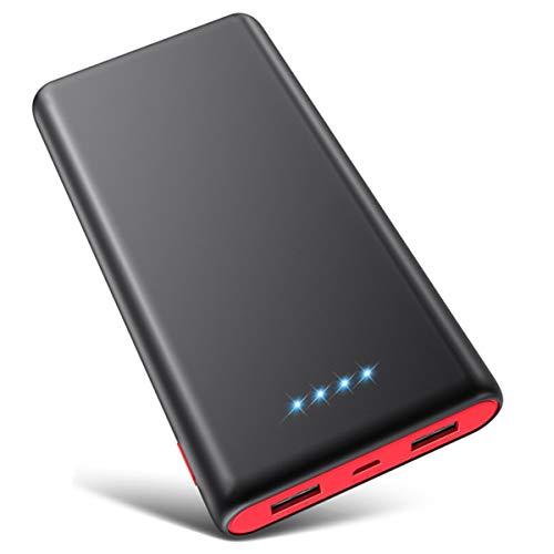 VOOE Power Bank 26800mAh【Hohe Effizienz- Ultrahohe Kapazität】 Externer Akku Power Pack Ladegerät Akkupack 3.1A 2-Port Ausgang Powerbank für Handy Tablet - Schwarz und Rot