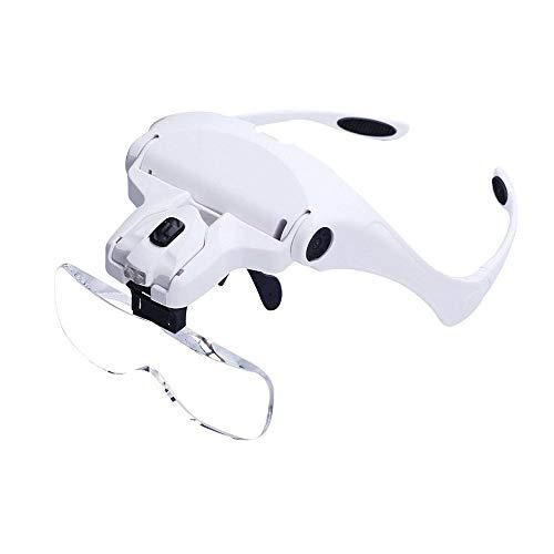 Lupa de cabeza, Bysameyee Lupa con lupa de cristal iluminada con 2 luces LED para trabajos cerrados, trabajos de joyería, reparación de relojes, manualidades, lectura