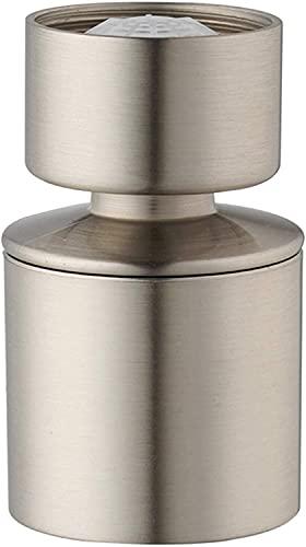 Solina Acondicionador de doble función, cabezal giratorio de 360 grados, abrazadera de cromo cromado, adaptador de tap, chorro de ventilación y conector de ducha (níquel cepillado)