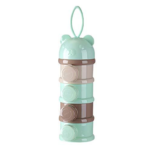 Aisi Baby Milchpulver Portionierer 4 Fächer Formel Milchpulverspender Aufbewahrungsbehälter Milk Powder Dispenser Aufbewahrungssystem Behälter für Babynahrung inklusive Deckel für 4 Portionen