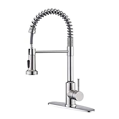 Kitchen Spring Faucet with Pull Down Sprayer?ARRISEA Single Handle Stainless Steel Kitchen Sink Faucet with Three Setting Pull Out Sprayer, Brushed Nickel Kitchen Taps with Deck Plate