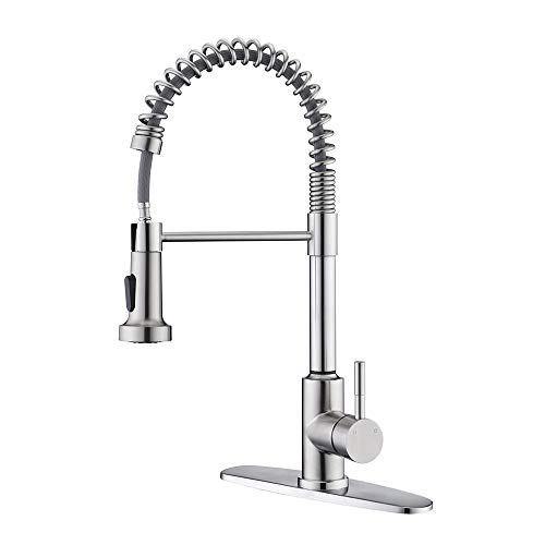 Kitchen Sink Faucet with Pull Down Sprayer,ARRISEA Single Handle Stainless Steel Kitchen Sink Faucet with Two Setting Pull Out Sprayer, Brushed Nickel Kitchen Sink Faucet with Deck Plate
