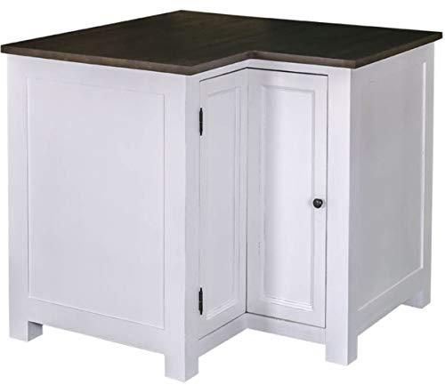 Casa Padrino Landhausstil Küchen Eckschrank Weiß/Schwarz 98 x 98 x H. 90 cm - Landhausstil Küchenschrank mit Tür