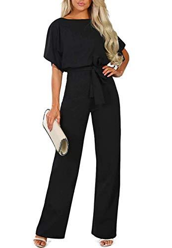 QUEENIE VISCONTI Women Summer Wide Leg Jumpsuit - Casual Long Pants Rompers Vacation Dressy Playsuit Black M