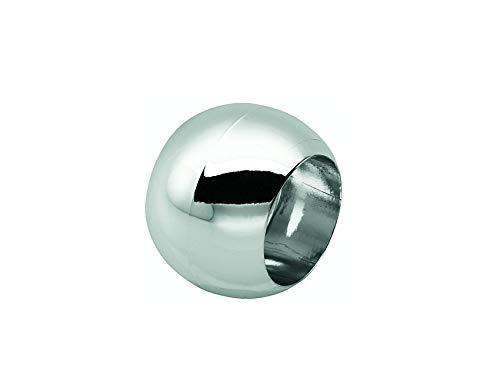 Prodecoshop 8 Schlaufenkugeln, Dekokugeln, Zierkugeln für Gardinen, Kunststoff, Ø Loch 16,5 mm, Chrom glänzend