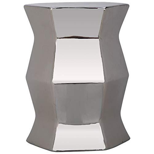 Safavieh Modern Hexagon Ceramic Decorative Garden Stool, Silver
