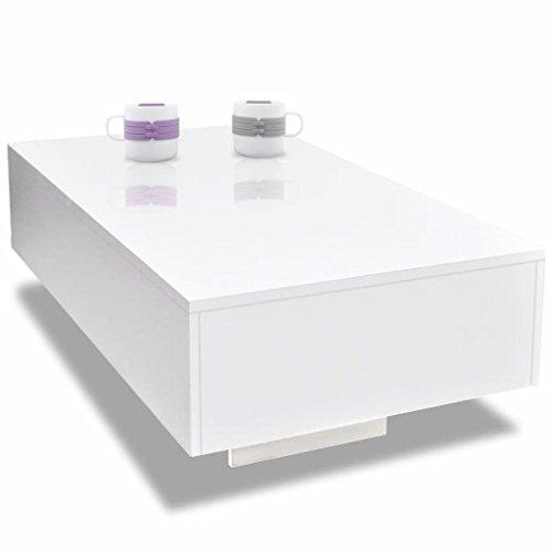 Galapara Virgio - Tavolino da Salotto con cassetto, 85 x 55 x 31 cm (L x P x A), Design Moderno, Colore: Bianco Lucido