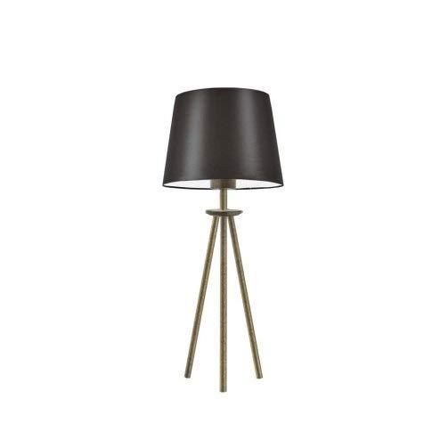 Bergen - Lámpara de mesa con pantalla de lámpara, marco marrón y dorado envejecido