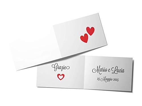 110 Bigliettini Bomboniera Confetti Matrimonio Cuori