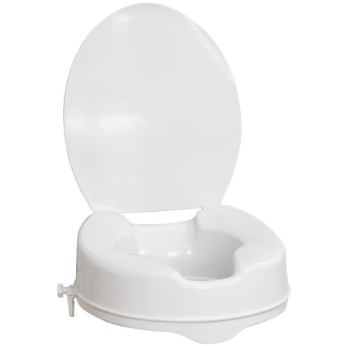 AquaSense Raised Toilet Seat with Lid, 4-Inches White