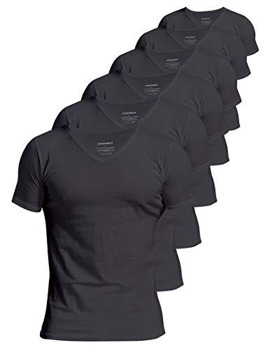 Comfneat Men's 6-Pack Undershirts 100% Cotton Comfy V-Neck T-Shirts