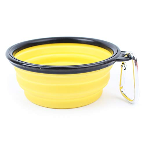 Tuzi Qiuge Pet Supplies, bewegliche Schwarz-Rahmen-Haustier-Silikon-Folding Futternapf Wasserbecken for Hundekatze (Color : Yellow)