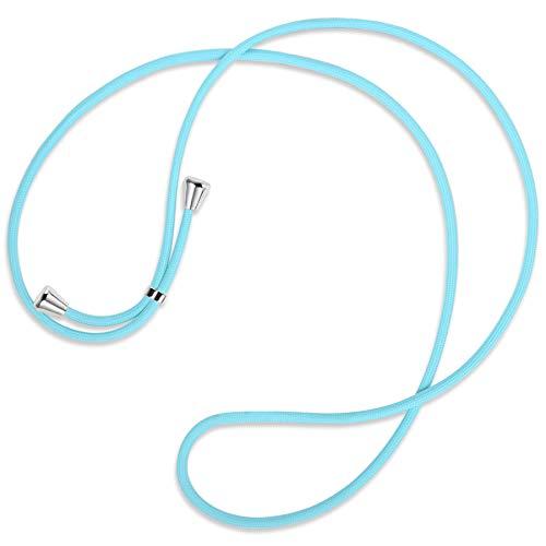 mtb more energy Cuerda de Repuesto para Collar Smartphone - Azul Bebe - Incluyendo Tapas Protectoras (Plata) - Cuerda de Intercambio Tirante Cadena Banda