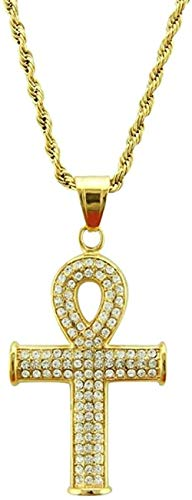 WLHLFL Necklace Hip Hop Egyptian Cross Full Rhinestone Pendants Men Key of Life Crucifix Necklace Women Gold Charm Jewelry Gift for Women Men Gift