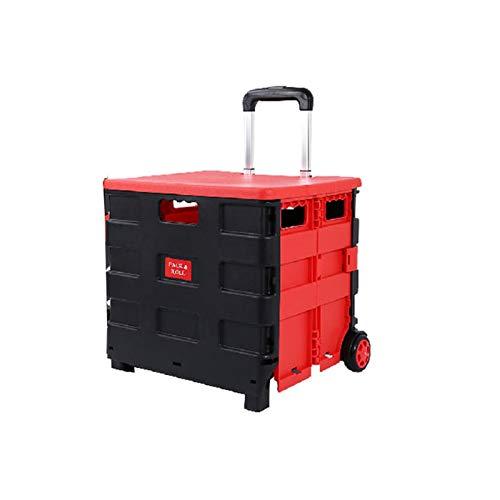 WJCRYPD Carrito De Compras Bolsa De Compras Plegable Trolley Plegable con Tapa Portátil Rolling Cesta De Comestibles Cesta De Almacenamiento Doméstico Qf Shop (Color : Black Red)