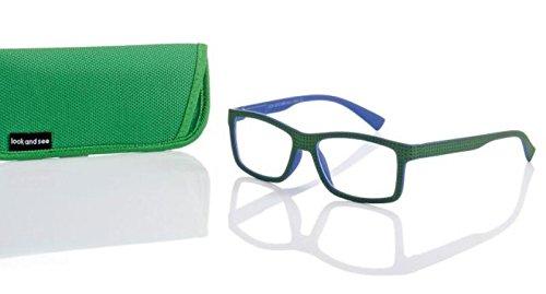 Designer leesbril +3,0 groen/blauw unisex flexbeugel leeshulp merk