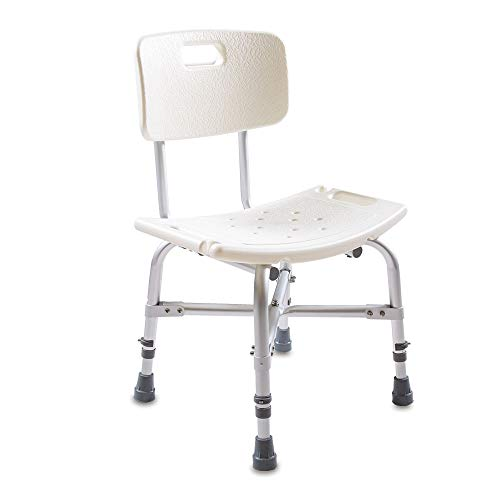 maxVitalis Duschsitz mit und ohne Rückenlehne | Duschhocker höhenverstellbar 38-49 cm | Duschbank Kunststoff | Rutschhemmend und stabil, Badestuhl in Weiß (mit Rückenlehne)