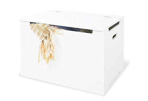 Pinolino kist, van hout, speelgoedkist voor kinderen, deksel met klapdemper, belastbaarheid 30 kg, wit gelakt