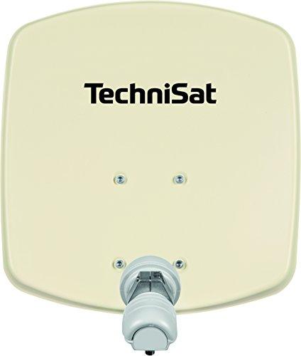 TechniSat DIGIDISH 33 - Satelliten-Schüssel für 1 Teilnehmer (33 cm kleine Sat Anlage - Komplettset mit Wandhalterung und Universal V/H Single-LNB) beige