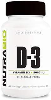 NutraBio Vitamin D (5000 IU) - 120 Vegetable Capsules