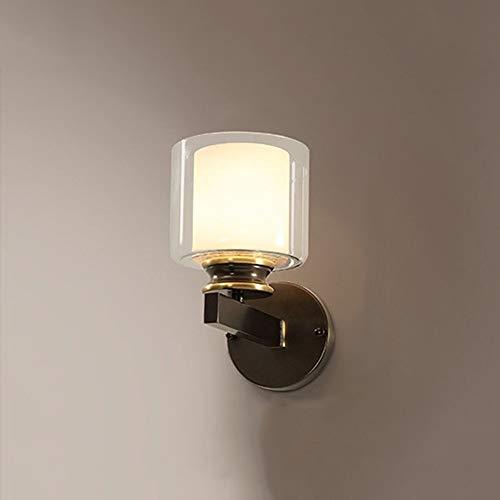 Raxinbang Luces de Pared LED Negro Cobre Vidrio Lámpara De Pared Pasillo Pasillo Comedor Sala De Estar Estudio Estudio Escaleras Balcón Luz Amarilla Cálida Moderna Simple