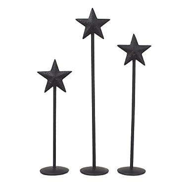 Bitty Star Metal Pedestals Set of 3 - 4 , 5  & 6  (Black)