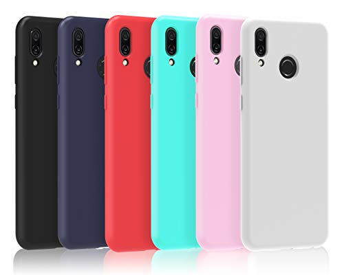 VGUARD 6 x Funda para Huawei Honor Play, Ultra Fina Carcasa Silicona TPU de Alta Resistencia y Flexibilidad (Negro, Azul Oscuro, Rojo,Verde, Rosa, Transparente)