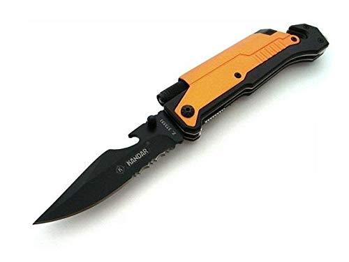 KanDar 5 in 1 Rettungsmesser, multifunktionales Klappmesser aus rostfreiem Stahl, Taschenmesser mit integriertem Gurtschneider und Glasbrecher, Messer für Outdoor, Camping oder für den Alltag