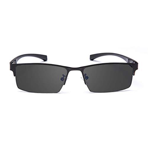 HAOXUAN Progressive Smart Zoom Multifokus-Lesebrille, PC-Objektiv TR90 Photochrome Halbrahmen-Sonnenbrille Unisex, Anti-Blau-Licht, Dioptrien +1,0 bis +3,0,Schwarz,+1.5