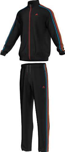 Adidas Ess 3S Woven Tracksuit, schwarz/solblu,5