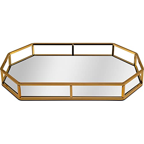 Maison Des Cadeaux New Decorative Metal Gold Octagon Shaped Dressing Table/Serving Tray with Mirrored Glass Base (AR10 Gold)