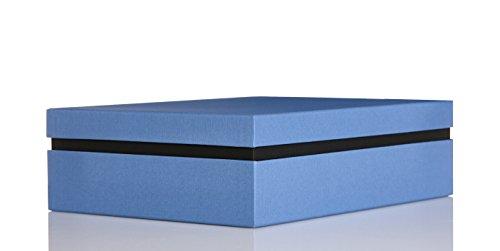 Ritter Design | Premium Aufbewahrungsbox/Geschenkbox/Dokumentenbox mit Deckel | kaschiert durch Bezugsstoff | passend für DIN A4 | gefertigt in Deutscher Manufakturarbeit | blau/schwarz