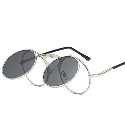 DLSM Gafas de Sol Vintage Ronda Punk Gafas de Sol Mujeres/Hombres Voltear la Cubierta de Metal de Cristal luz polarizada Apta para Gafas de Sol de Golf al Aire Libre-C3