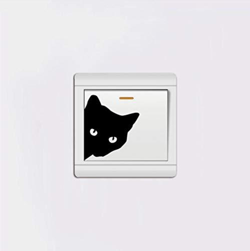 Guardería del Interruptor Stickers Etiqueta Engomada del Interruptor De La Luz De La Cabeza del Gato Pegatinas De Pared De Vinilo De Animales Creativos para La Decoración del Hogar De La Habitación
