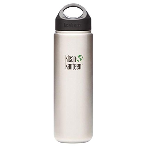 Klean Kanteen Wide Mouth Single Wall Water Bottle with Loop Cap, Brushed Stainless Steel, 27-Ounce