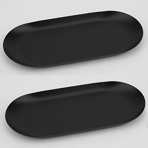 Stainless Steel Decorative Tray Set of 2 7 Inch Long Jewelry Dish Cosmetics Organizer Bathroom Clutter Serving Platter Small Storage Tray Oval Matte Black