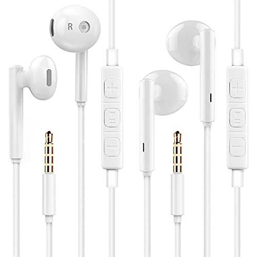 iPhone Earbuds,Wired Headphones with Microphone,2 Pack in-Ear Earphones 3.5mm Jack Noise Isolating High Definition Stereo Compatible with iPhone 6s/6 Plus/SE and Android, Samsung, iPod, iPad, MP3