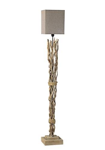 ONLI Marica - Piantana in Legno, Paralume in Tela color Sabbia. Stile Nature, Moderno, Organico, legno;stoffa