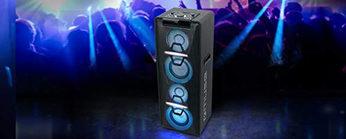 Muse M-1950 DJ PA-Anlage 500 Watt, mit CD, Bluetooth und Licht-Effekten (USB, AUX, Mikrofon, Fernbedienung), schwarz - 4