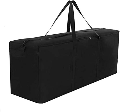 Garden Cushion Storage Bag Large Waterproof Outdoor Storage Bag 600D Oxford Fabric Heavy Duty Material with Handle Rectangle Patio Cushion Pad Black 122 39 55cm