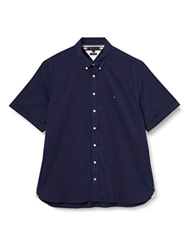Tommy Hilfiger Slim Fine Twill Shirt S/s Camicia, Blu, M Uomo