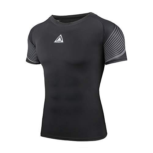 AMZSPORT Camiseta Compresión Hombre Ropa Deportive de Manga Corta para Running Ciclismo, Negro, M