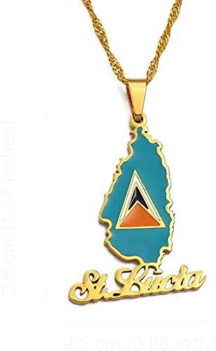 YOUZYHG co.,ltd Collar Islas Vírgenes pequeñas St John Card Collares Pendientes para Mujeres Regalos de joyería de Saint John