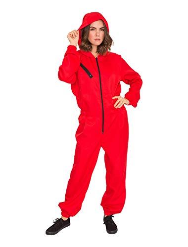 Deiters Mono rojo con capucha para hombre y mujer, disfraz de carnaval, mono rojo con capucha, de una pieza, disfraz de carnaval para carnaval y fiestas temticas, talla: L/XL