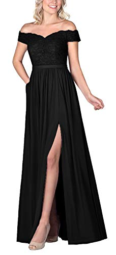 Off Shoulder Bridesmaid Dresses for Women Lace Long Formal Evening Party Gown (Black-16)